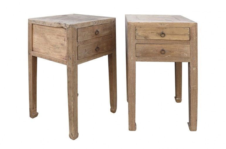 Petite Lily Interiors Raw wood side table - elm wood - 46x46xh83cm - unique item