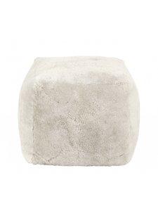 Nordal Pouf en peau d'agneau - 45xh45cm - Blanc - Nordal
