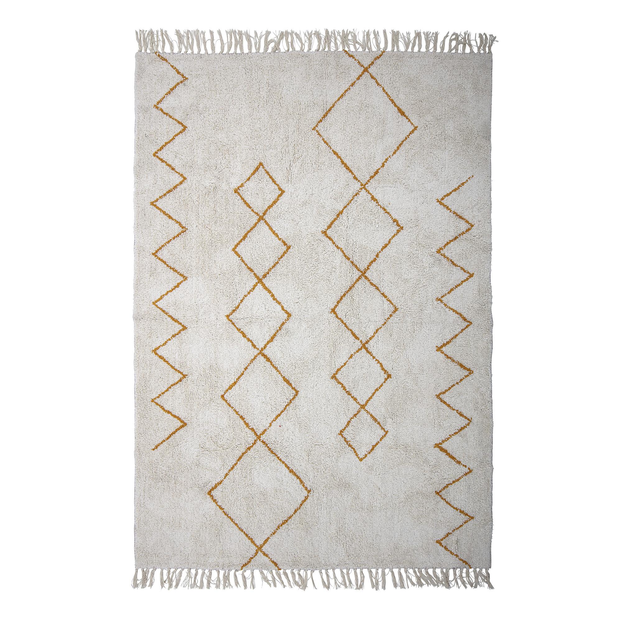 Bloomingville Scandinavian rug Yellow cotton - white - 200x140cm - Bloomingville
