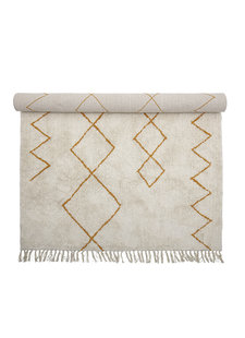 Bloomingville Scandinavian rug Yellow cotton - white - 200x140cm - Bloomingville