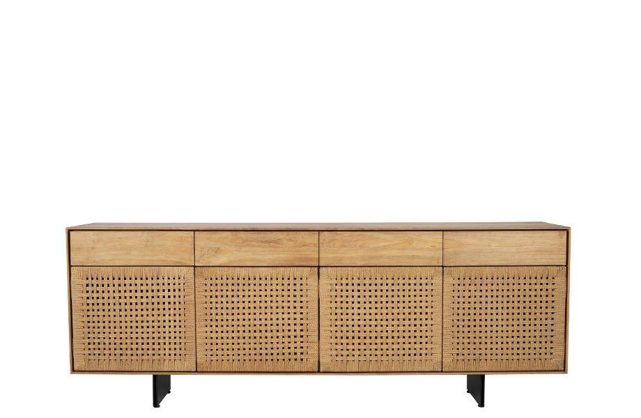 Dareels Buffet/Sideboard Cora - teck naturel y métal noir - 220x45xh82 - Dareels