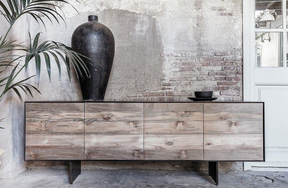 Dareels Sideboard GEOX 208 - natural teak / black iron - 208x45xh72 - Dareels