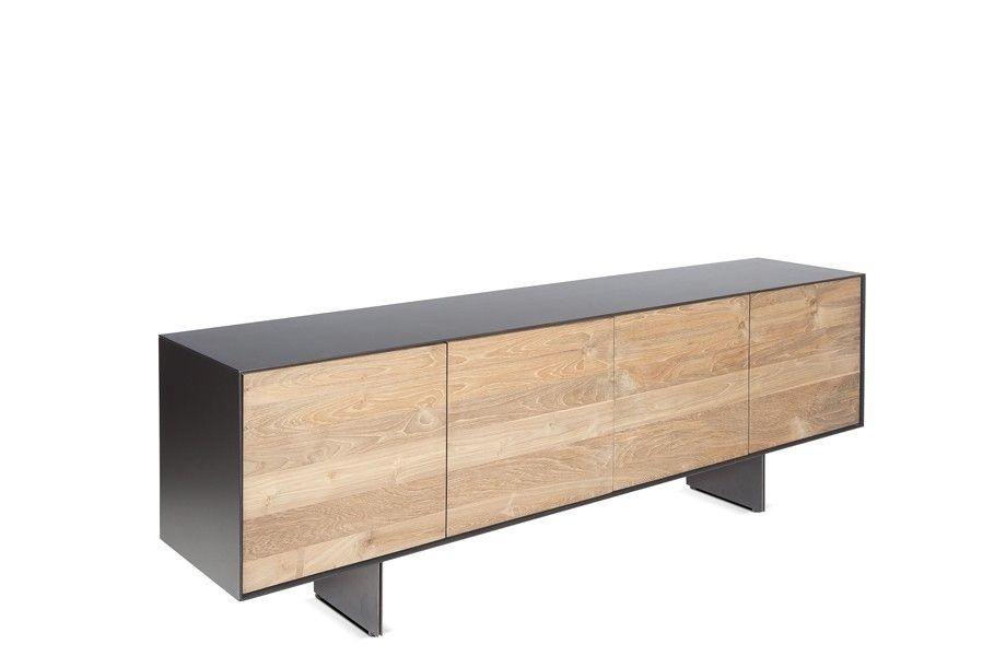 Dareels Buffet/Sideboard GEOX 208 - teck naturel y métal noir - 208x45xh72 - Dareels