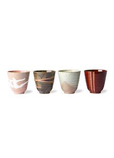 HK Living Set de 4 Tasses à Thé japonaises 'yunomi' en céramique
