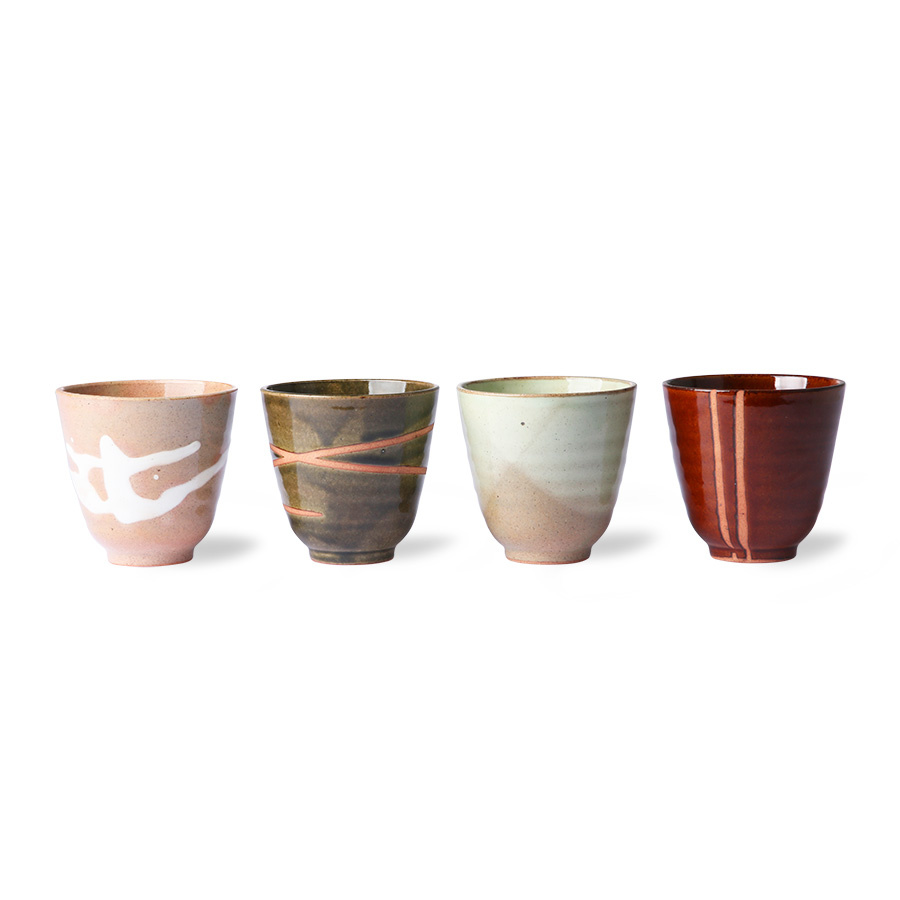 HK Living kyoto ceramics: tasses japonaises yunomi (set of 4)