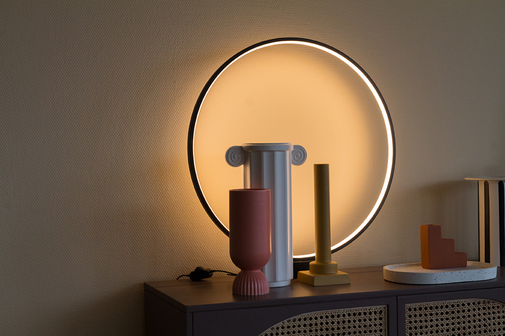 HK Living luminous circle table lamp black LED - Ø60x5,5cm - HK Living