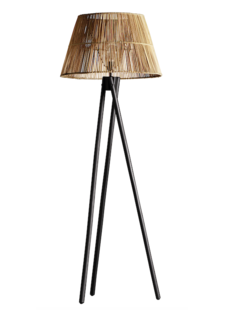TineKHome Floor lamp wood & rattan - natural/black - TinekHome