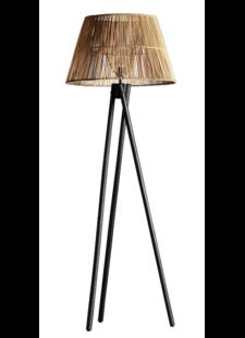 TineKHome Lampadaire droit en bois et rotin - naturel/noir - TinekHome