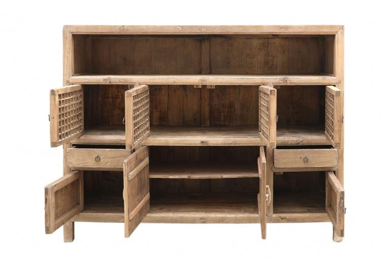 Petite Lily Interiors Cabinet Vintage Bois Brut - L180x45xh140cm - pièce unique