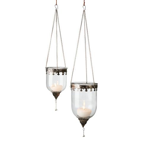 Affari of Sweden Lanterne à Suspendre Marrakech en Verre et métal - Ø15xH21/60 cm