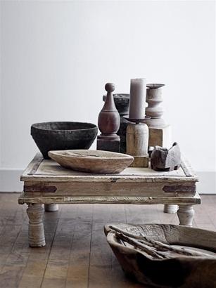 Bloomingville Indian table / Pedestal wood -  50x50X20cm - unique item