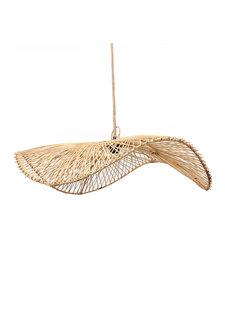 Petite Lily Interiors Rattan pendant lamp 'Chapeau' - natural - Ø75x20cm