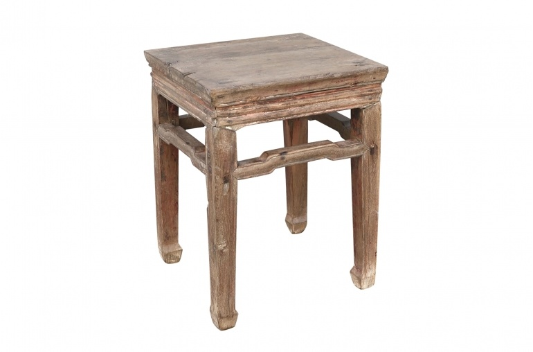 Petite Lily Interiors Vintage side table - raw walnut wood - 38x39xh51cm - unique item