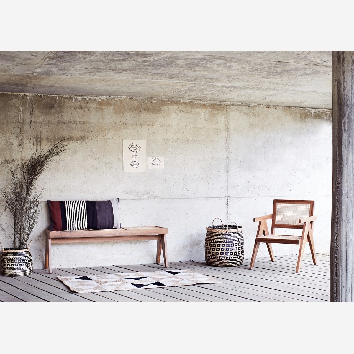 Madam Stoltz Fauteuil Lounge teck et cannage - Naturel - 72x58x77cm - Madam Stoltz
