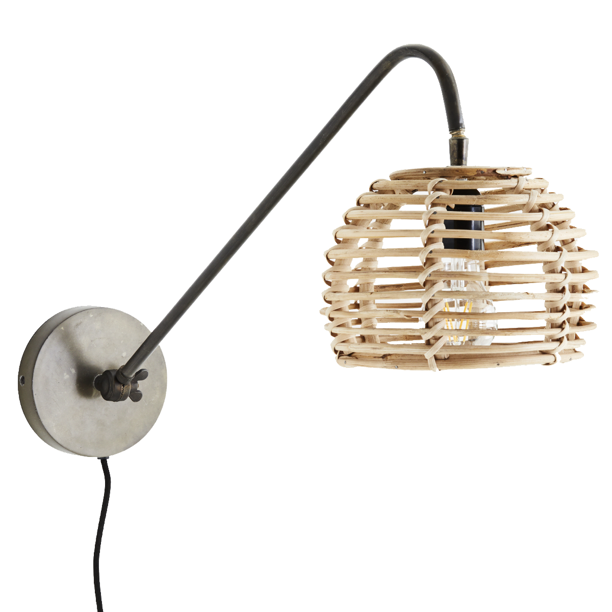Madam Stoltz Wall lamp in bamboo - 20x26x70cm - Madam Stoltz
