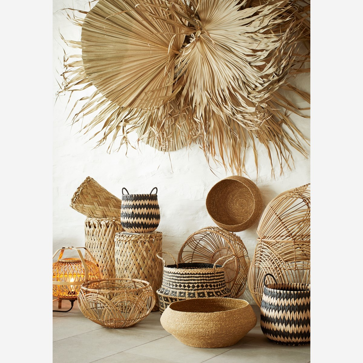 Madam Stoltz Table lamp, Nature, Bamboo - Ø32x35cm - Madam Stoltz