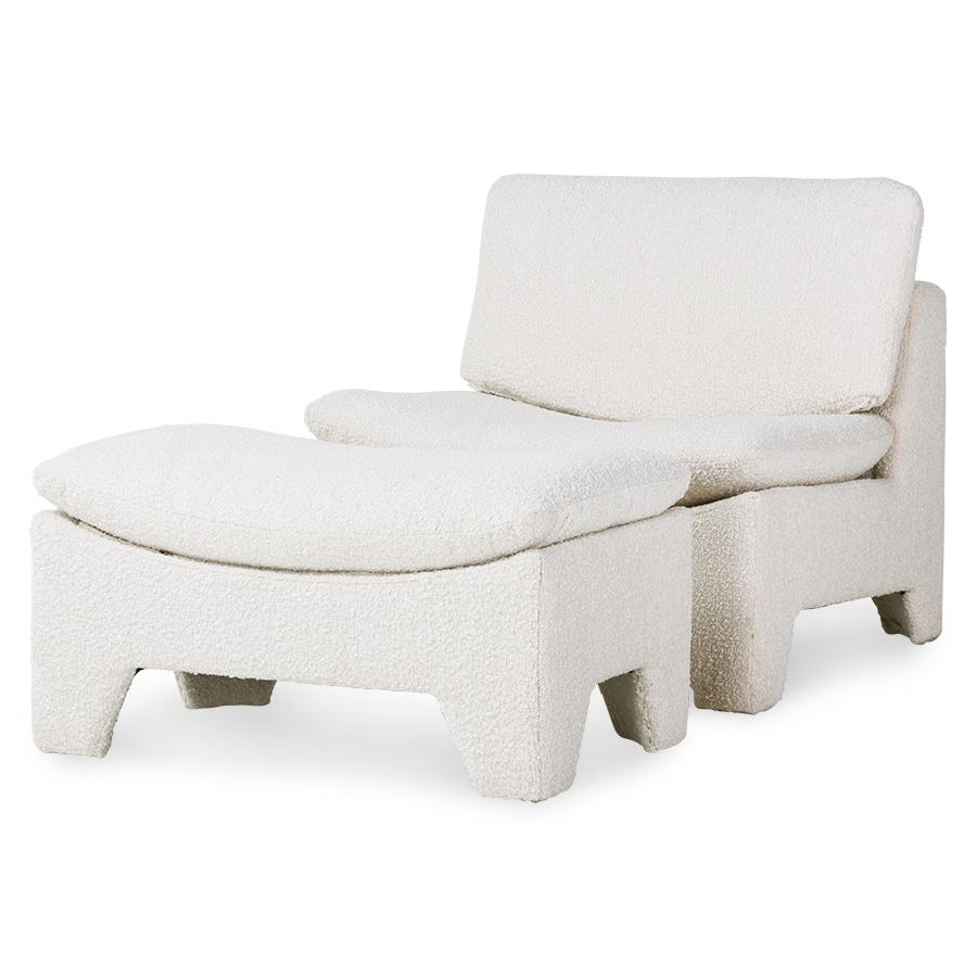 HK Living Pouf Lounge Retro 'boucle' - crème - 82x51x45cm - HK Living