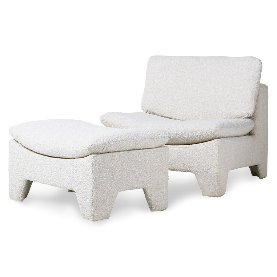 HK Living Retro lounge ottoman boucle cream - 82x51x45cm - HKliving