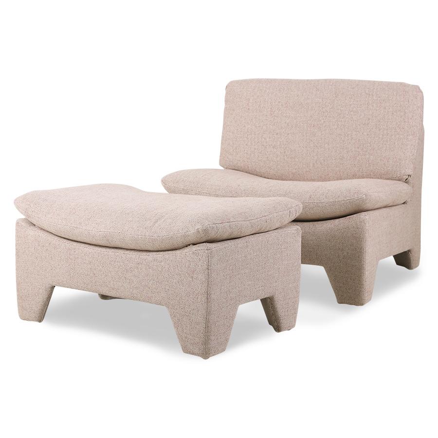 HK Living Pouf Lounge Retro 'boucle' - rose melange - 82x51x45cm - HK Living
