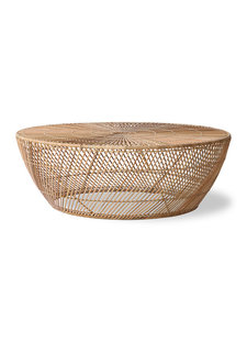HK Living Wicker coffee table - Natural - Ø100x35cm - HK Living