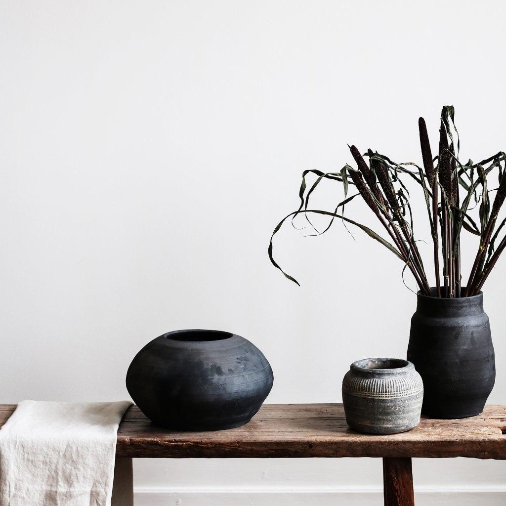 Tell me more Pot de fleur - argile - noir - Ø28xH16cm - Tell Me More