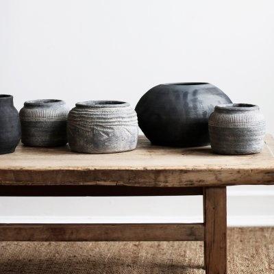 Tell me more Black Flowerpot clay - Ø28xH16cm - Tell Me More