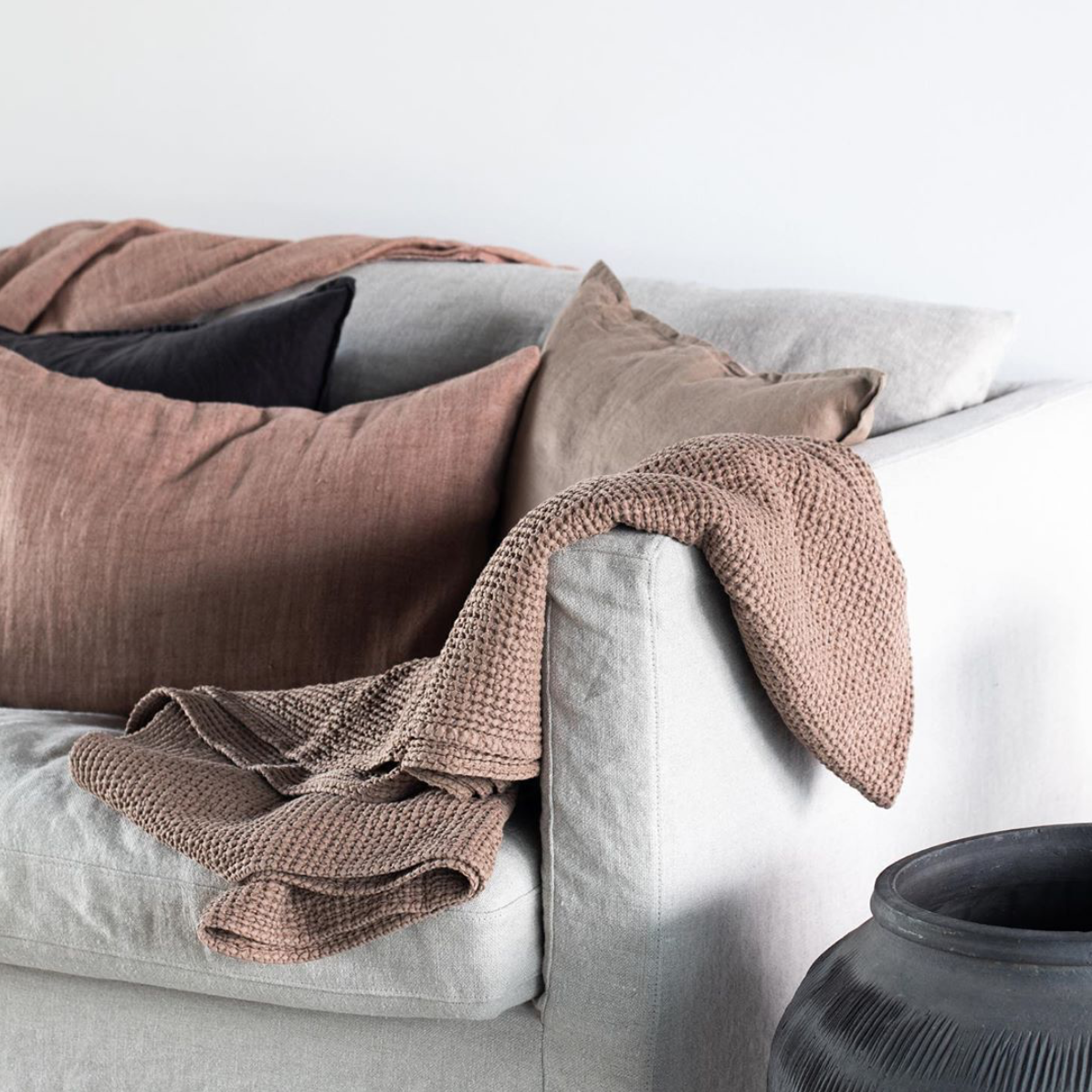 Tell me more Linen bedspread / Throw - Almond / Brown - 130x170cm - Tell Me More