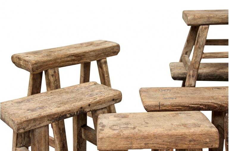 Snowdrops Copenhagen Stool wood Vintage - natural - 33x33xh16cm - unique item