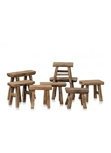 Snowdrops Copenhagen Stool wood Vintage - natural -33x33xh16cm - unique item