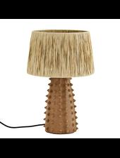 Madam Stoltz Lampe de bureau en Terracotta, terre cuite / raphia