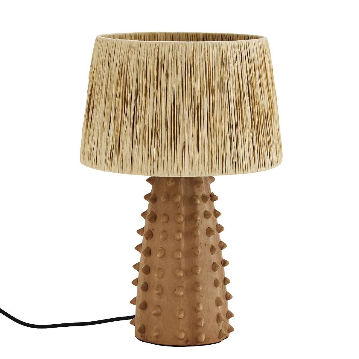 Madam Stoltz Lampe de bureau en Terracotta, terre cuite / raphia -  Ø30xh45cm