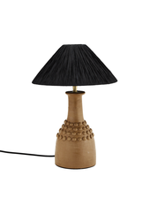 Madam Stoltz Table Lamp Terracotta  & raffia - black - Ø30xh45cm