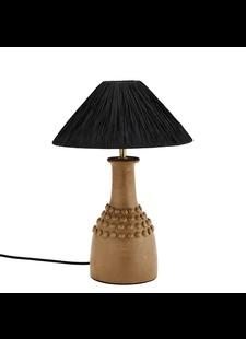 Madam Stoltz Lampe de bureau en Terracotta, terre cuite / raphia - noir