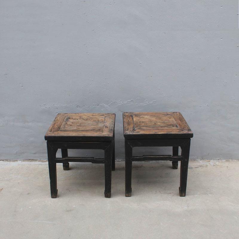 Petite Lily Interiors Set of 2 Vintage side tables - raw elm wood - 45x45xh49cm - unique item