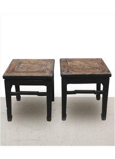 Petite Lily Interiors Lot de 2 tables Chevet vintage / bois brut - noir - 45x45xh49cm