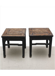 Petite Lily Interiors Set of 2 Vintage side tables - raw elm wood - black - 45x45xh49cm