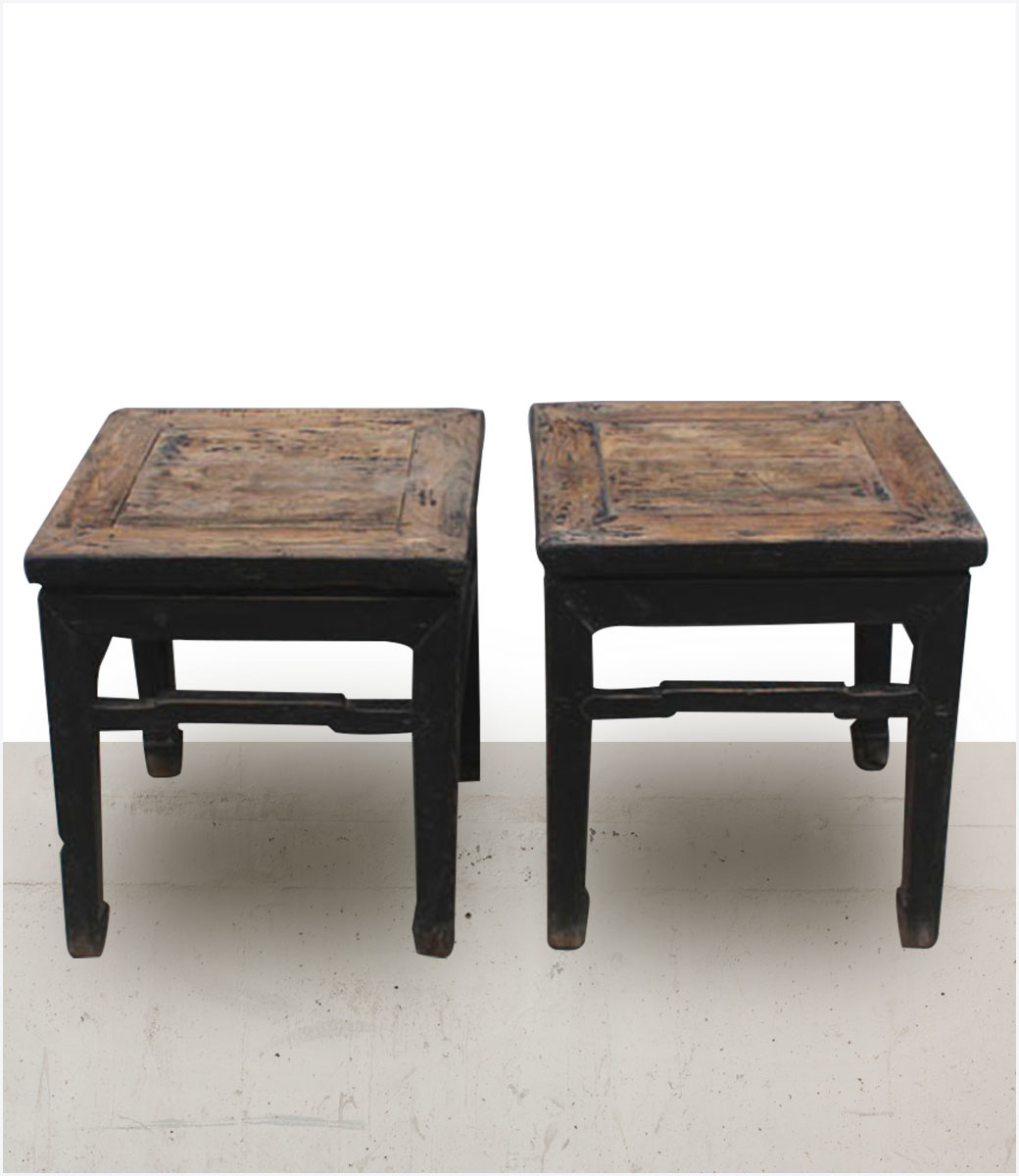 Petite Lily Interiors Lot de 2 tables Chevet vintage en orme / bois brut - 45x45xh49cm - piece unique