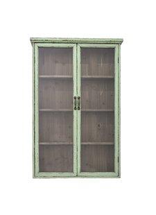 Bloomingville Bibliothèque / Cabinet - bois et verre - vert - L81xH122xW22cm