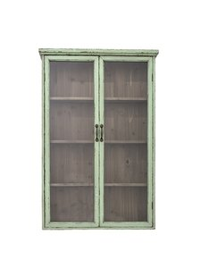 Bloomingville Green cabinet - wood & glass - L81xH122xW22cm