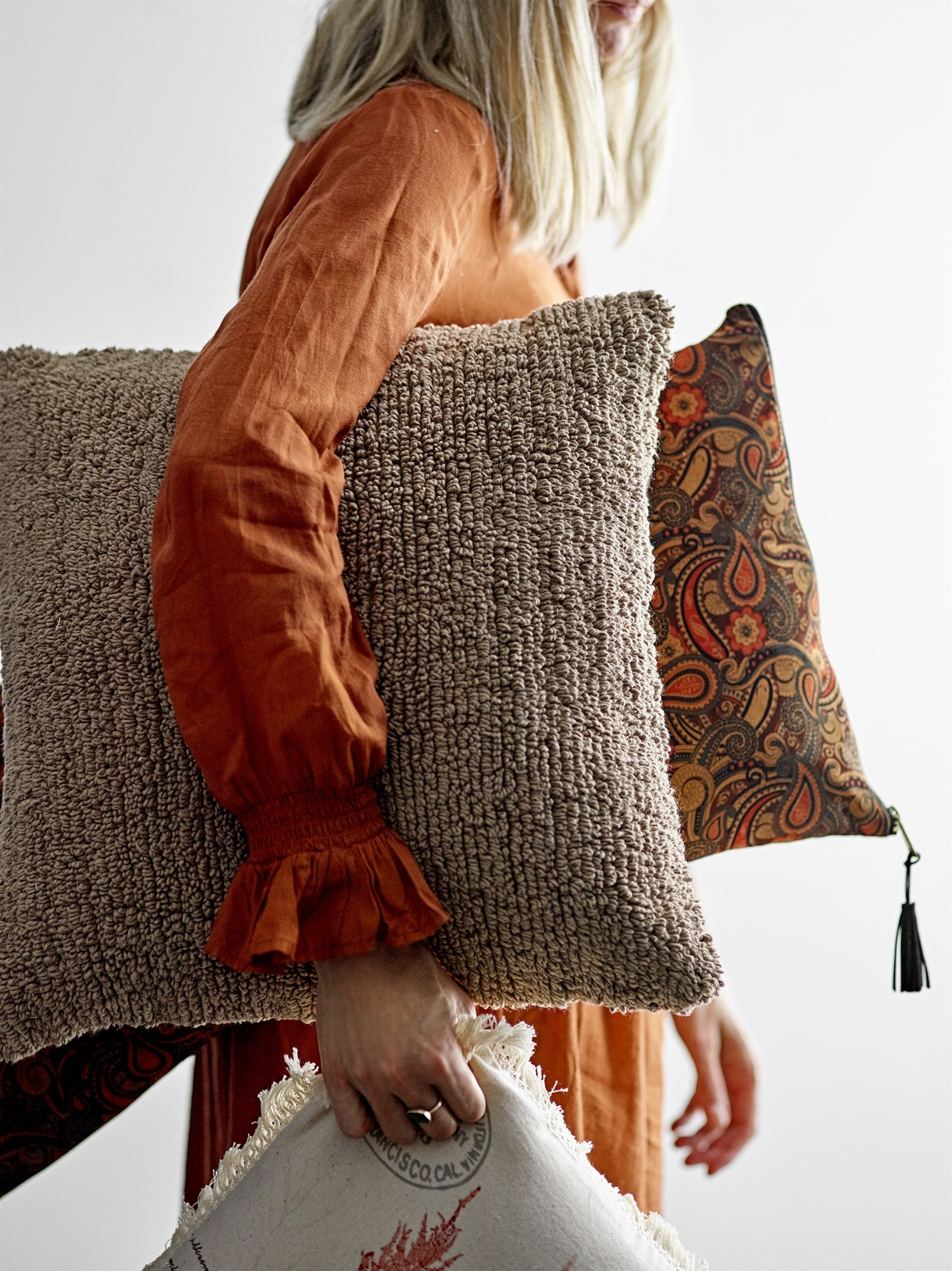 Bloomingville Cushion - brown - L45xW45cm - Bloomingville