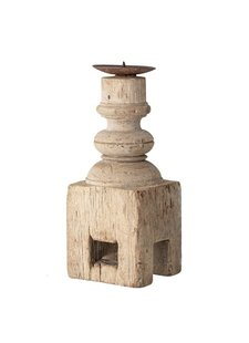 Bloomingville Indian wooden candle holder - L10xH25xW10cm - Unique Item