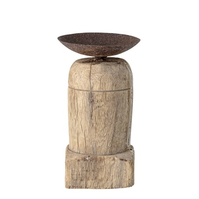 Bloomingville Indian wooden candle holder - L7,5xH15xW7,5cm - Unique Item