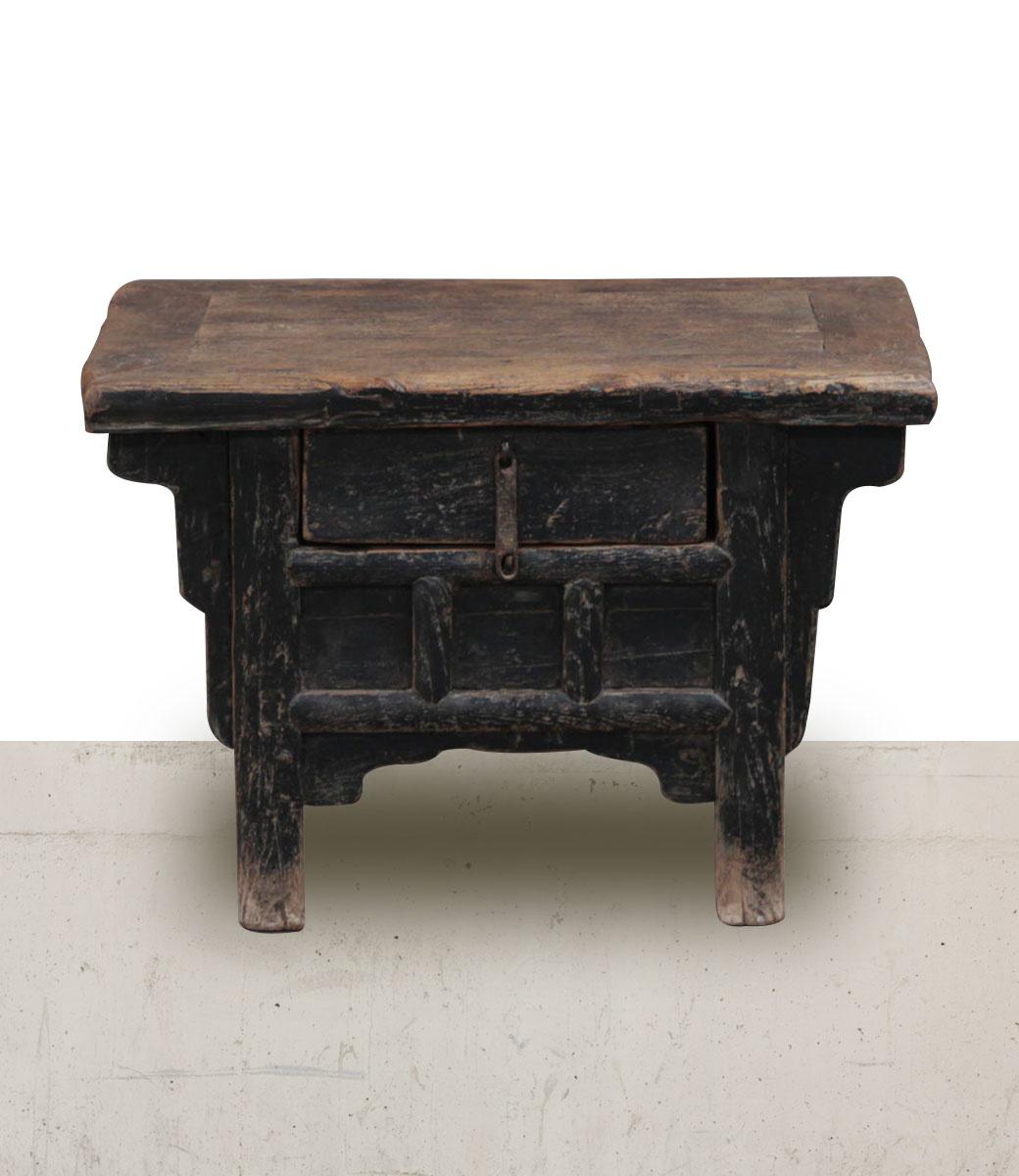 Petite Lily Interiors black raw wood side table - 65x44xh44cm - Unique Item