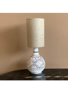 Petite Lily Interiors Lampe de bureau Tribal - céramique / lin  - Ø25x65cm