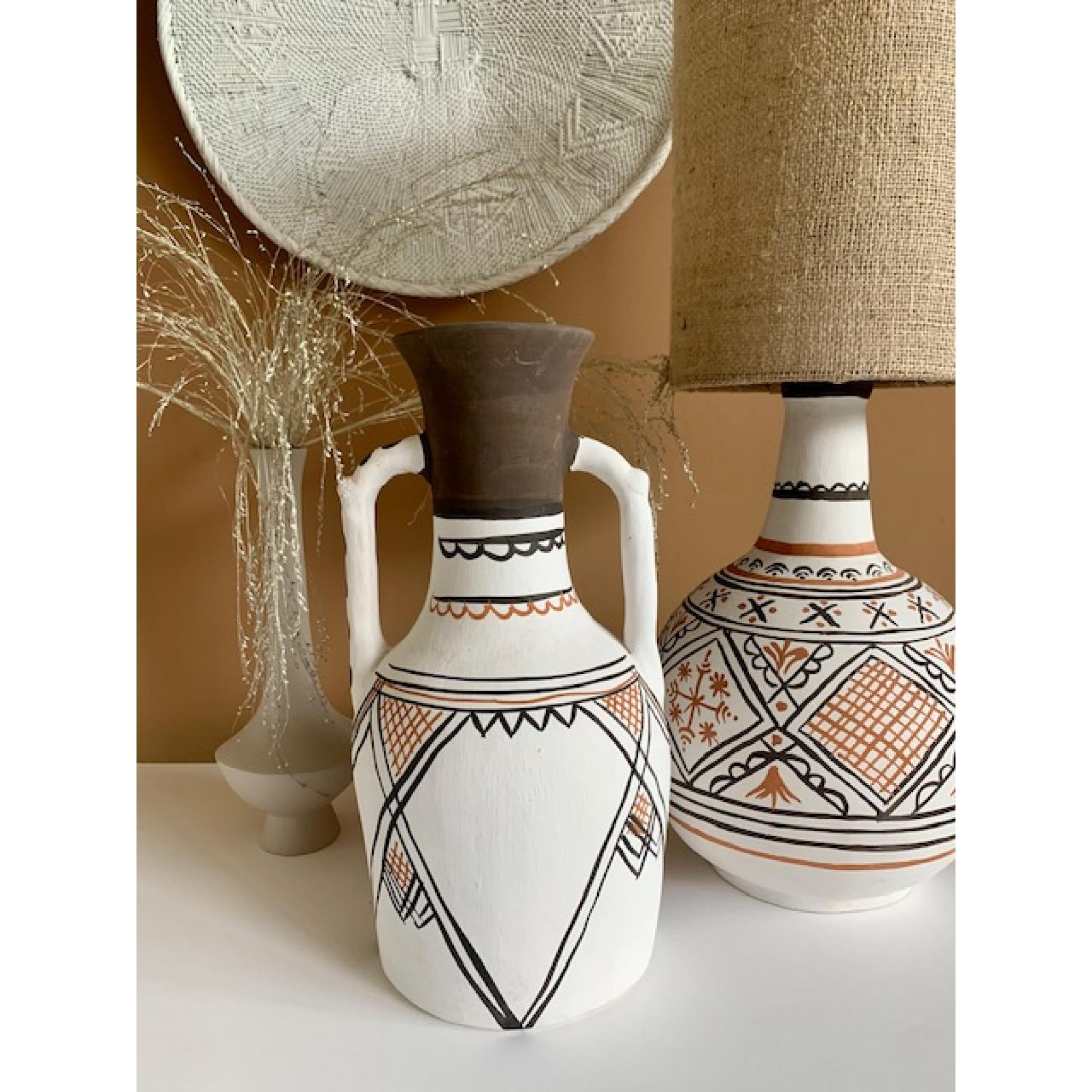 Petite Lily Interiors Table Lamp Tribal Linen - ceramic / linen - Ø25x65cm