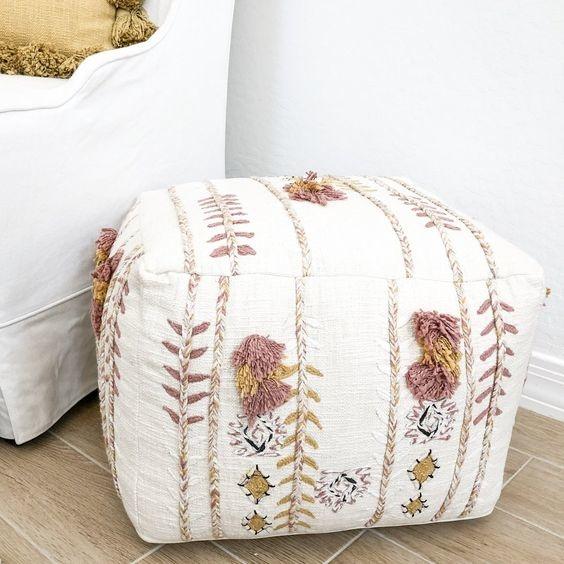 Bloomingville Pouf, Cotton- multi-color / pink - 45xh30cm - Bloomingville