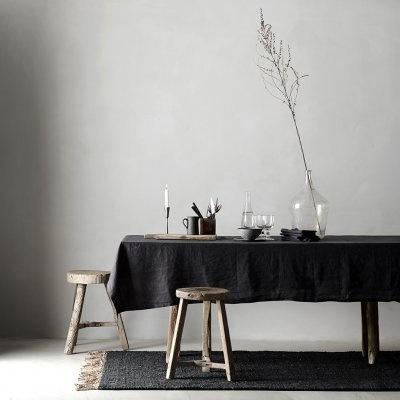 Tell me more Tapis toile de Chanvre - noir - 140x200cm - Tell me more