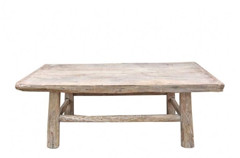 Petite Lily Interiors Table basse vintage / bois brut - 116x61xh42cm - noyer brut