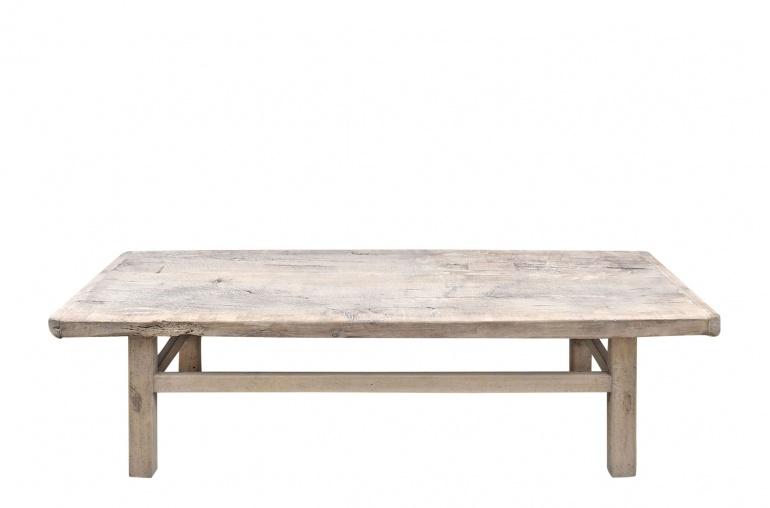 Petite Lily Interiors Table basse vintage / bois brut - 155x57xh43cm - noyer brut