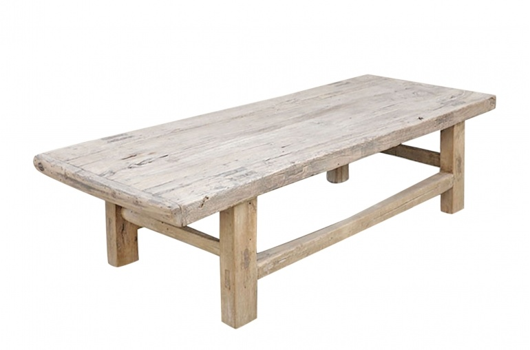 Petite Lily Interiors Table basse bois brut - 146x60xh41cm - Peuplier